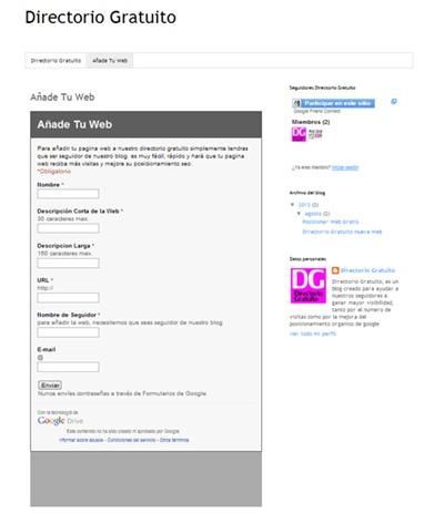 Añadir Web en Directorio Gratuito